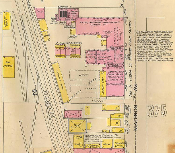 H. Lieber Co.'s picture frame and moulding business grew so large that a separate manufacturing location had to be built (1898 Sanborn map courtesy of IUPUI digital Archives) CLICK TO ENLARGE