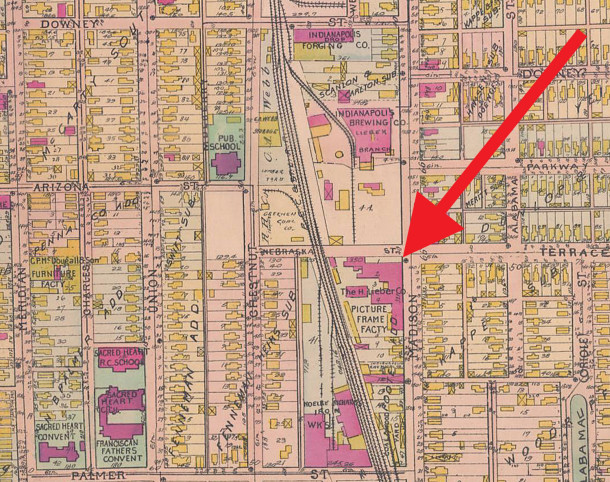 1908 Baist map shows the location of the Lieber Frame Factory, just south of the Lieber Brewing Company (map courtesy of IUPUI Digital Archives)