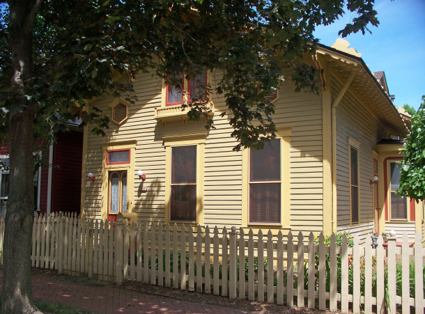 The frame cottage that Herman Lieber built about 1860 still graces the Lockerbie Historic District a century-and-a-half later (photo by Sharon Butsch Freeland)
