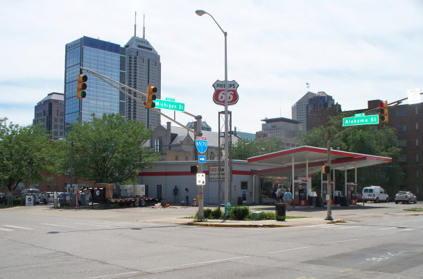 The sPhillips 66 gas station on the corner of Michigan and Alabama was the location of Herman Lieber's home for the last 25 years of his life (photo by Sharon Butsch Freeland)