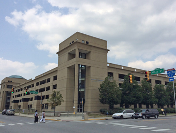 The corner of Ohio and Senate on which Deaconess Hospital once stood is now an Indiana Givernment Center Parking Garage (photo by Tiffany Benedict Berkson)
