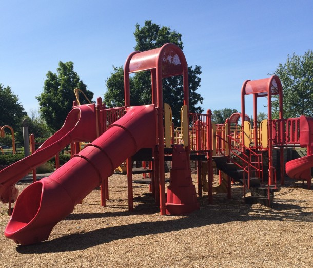 The playground at Washington Park includes a spray park