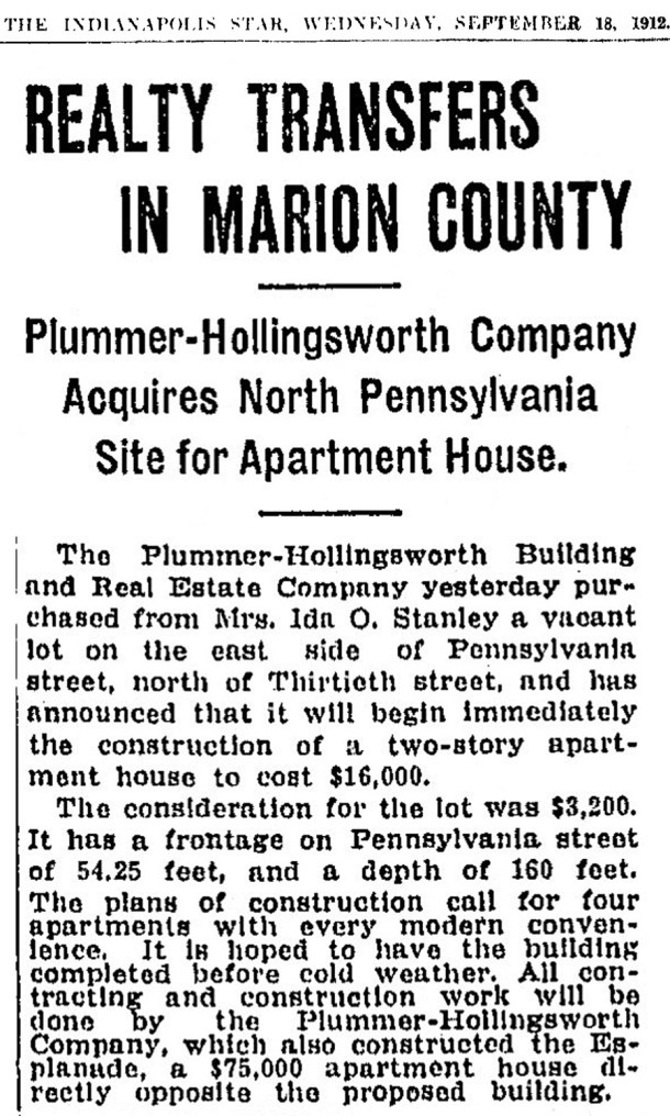 September 18, 1912, Indianapolis Star real estate announcement of land sale (scan courtesy of newspapers.com)
