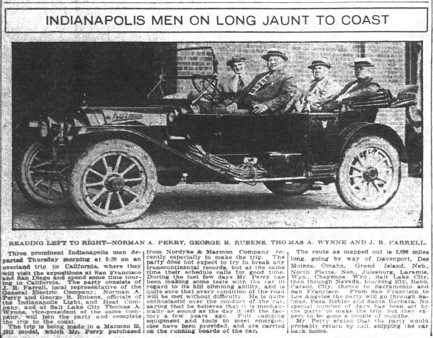 Esplanade Annex resident George Rubens took a trip to California in a 1912 Marmon (scan courtesy of newspapers.com)
