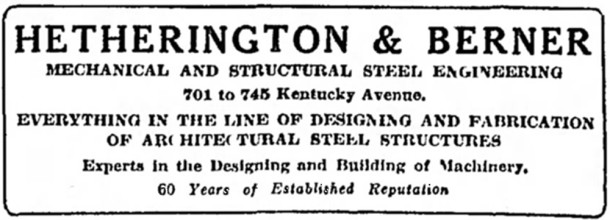 1924 ad for Hetherington & Berner that appeard in The Indianapolis Star (scan courtesy of The Indianapolis Star)