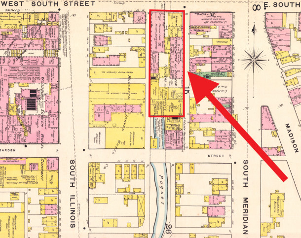 1887 Sanborn map shows the first location of Hetherington & Berner at 10-27 West South Street (image courtesy of IU Digital Library)