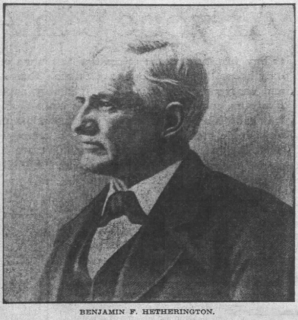 The Indianapolis News published a photo of Benjamin Franklin Hetherington with his 1906 obituary (scan courtesy of newspaperps.com)