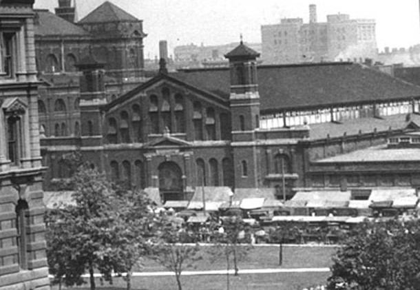 Indianapolis' iconic City Market as it appeared in spring of 1924, thirty-eight years after it was constructed (W. H. Bass Photo Company Collection, courtesy of the Indiana Historical Society)