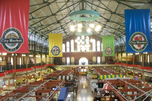 The interior of the City Market is supported by wrought Iron columns and trusses (photo by Sharon Butsch Freeland)