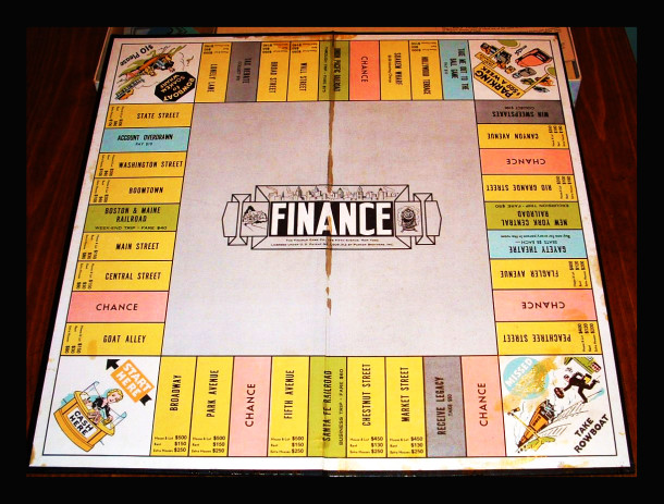Finance, a Knapp board game predating the well-know Monopoly game, is a rare find. Image credit: The World of Monopoly