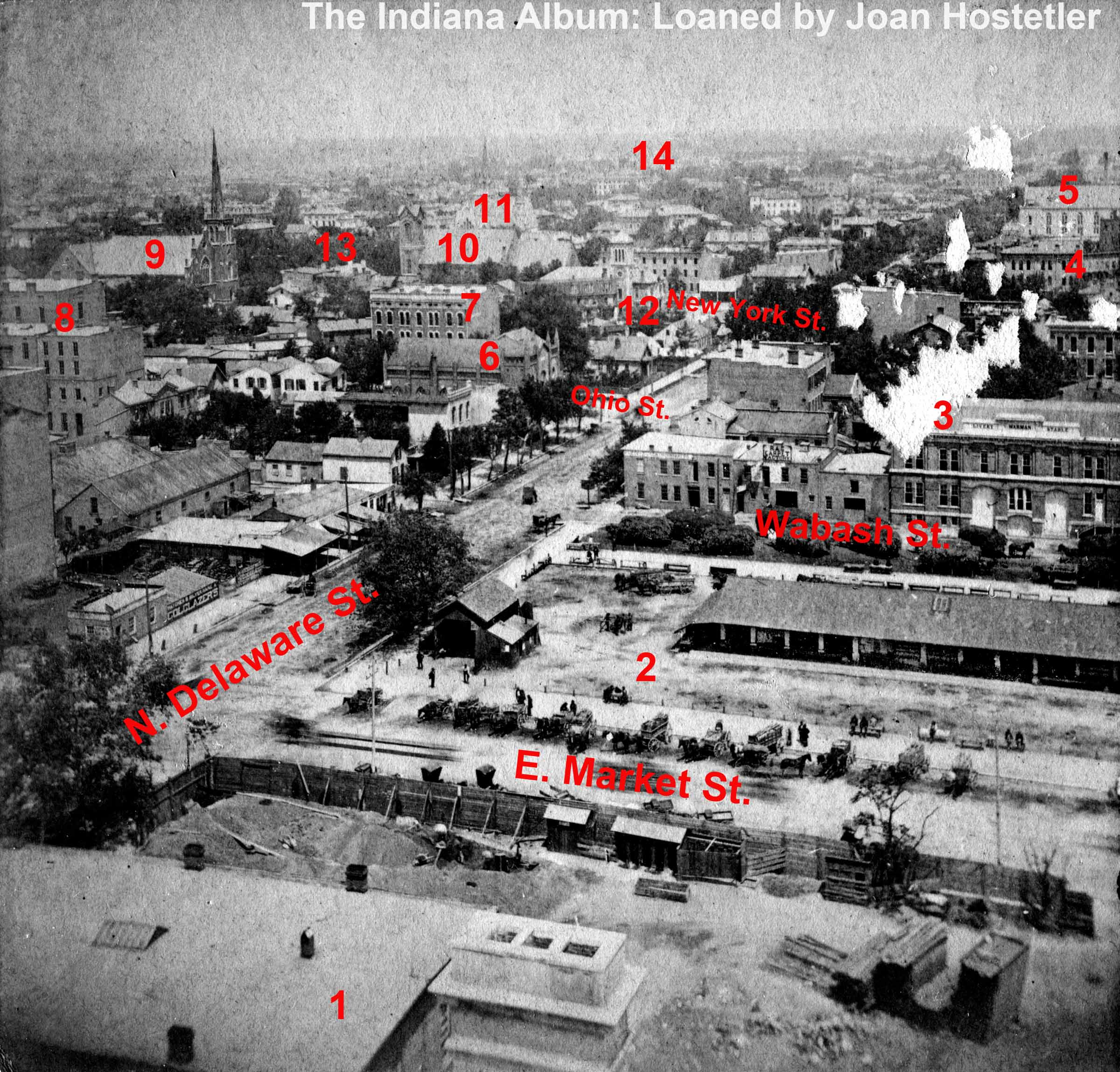 Indianapolis Then and Now: Bird's-Eye View North from Marion County Courthouse