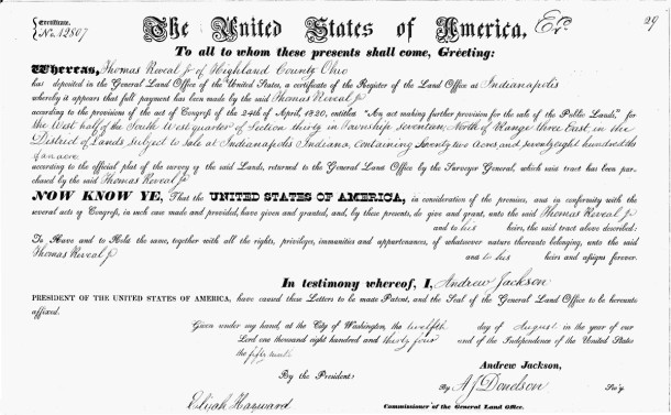 1834 Land Patent shows Thomas Reveal's purchase of land from the United States of America (scan courtesy of Ancestry.com)