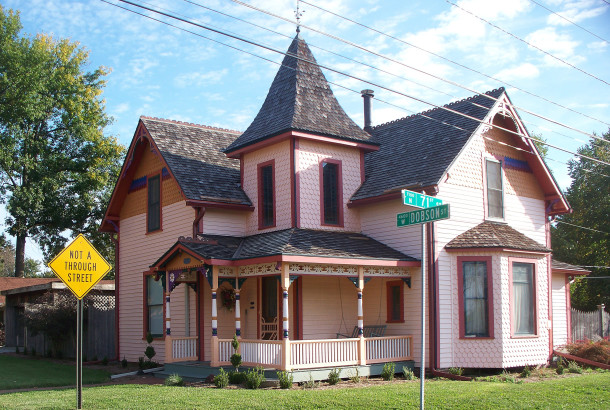 Built circa 1871, many of the home's Queen Anne style features were added circa 1890  (2014 photo by Sharo Butsch Freeland)