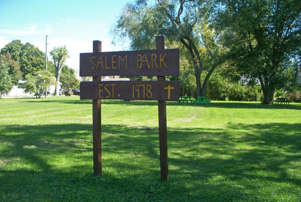A park on Pollard Street is owned and maintained by Salem Evangelical Lutheran Church (2014 photo by Sharon Butsch Freeland)