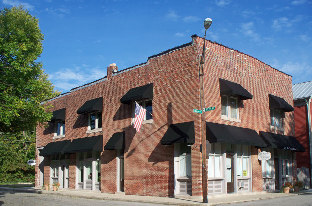 The two-story brick Oddfellows Building housed a grocery store, barber shop, and ice cream parlor  (2014 photo by Sharon Butsch Freeland)