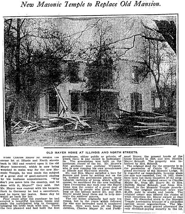 1907 Indianapolis Star article describes the sale of the Charles Mayer home to the Indianapolis Masonic Temple Association (scan courtesy of newspaper.com)