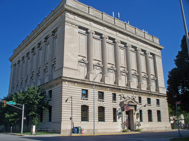 The Indianapolis Masonic Temple at 525 N. Illinois Street is home to twelve different lodges (2014 photo by Sharon Butsch Freeland)