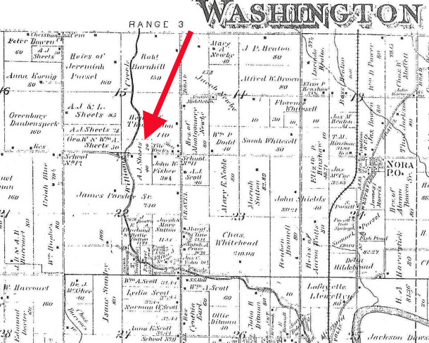 An 1889 map of Washington Township indicates there was a residence close to the road, east of a bridge over Williams Creek (map courtesy of the Indiana State Library)