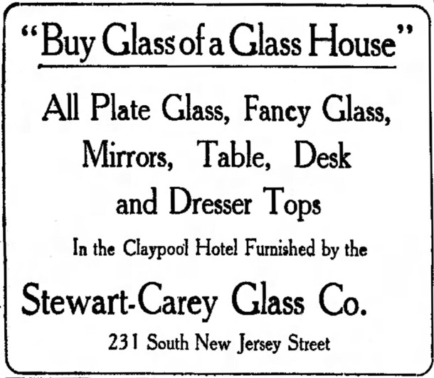 1915 Ad for the Stewart-Carey Glass Company (scan courtesy of newspapers.com)