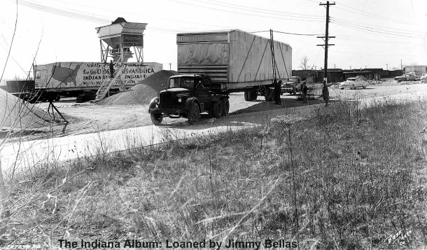 The diner came by rail from New Jersey and was then hauled by several trucks to 5151 E. 38th Street. (The Indiana Album: Loaned by Jimmy Bellas, photo by Bass Photo Company)