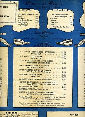 A filet for $3.00! Keep in mind the average household income in 1955 was below $5,000.00