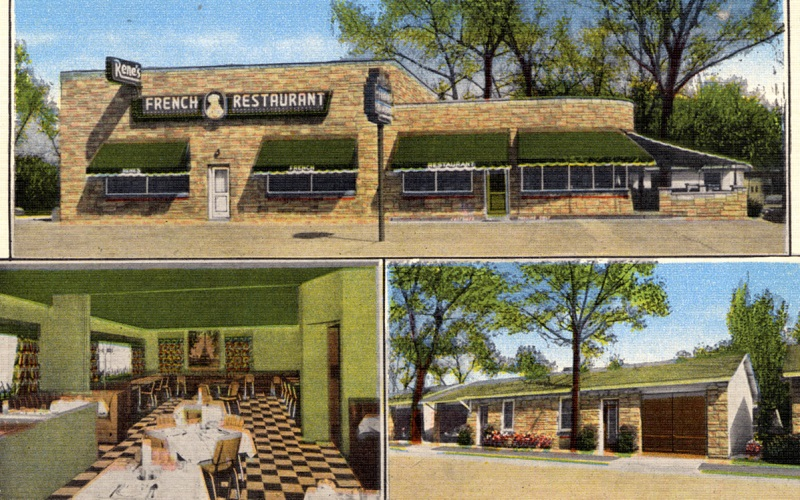 This 1950's post card shows the interior and exterior of Rene's (courtesy Evan Finch)