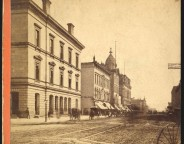 Circa 1876 stereoview looking south on Pennsylvania Street from Market Street (The Indiana Album: Loaned by Joan Hostetler)