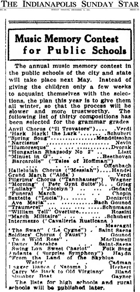 List of music to be in the Music Memory Contest for the 1921-1922 school year  (Indianapolis Star scan courtesy of newspapers.com)