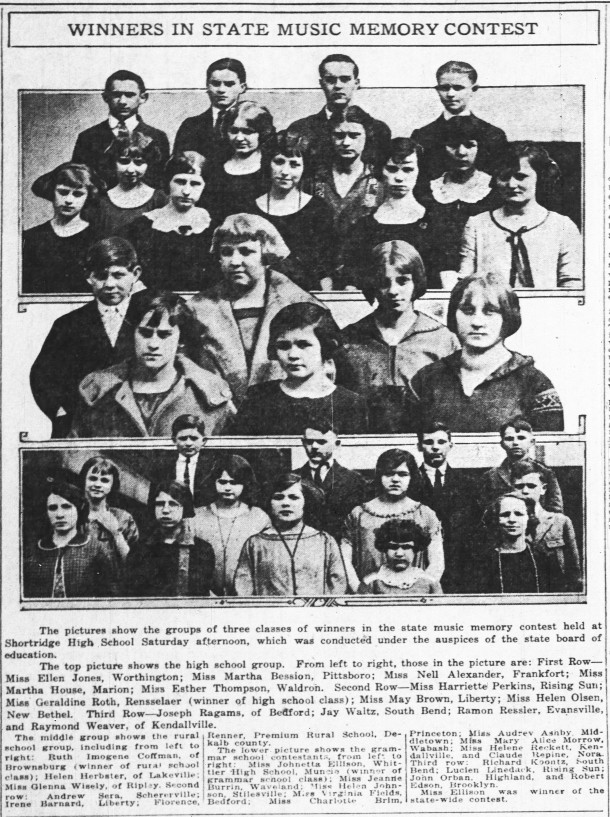 Winners of the 1924 Indiana Music Memory Contest (scan of Indianapolis News article courtesy of newspapers.com)