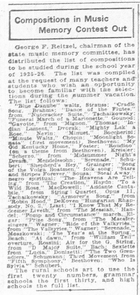 The Indianapolis News listed the pieces chosen for the 1925 Music Memory Contest   (scan courtesy of newspaper.com)