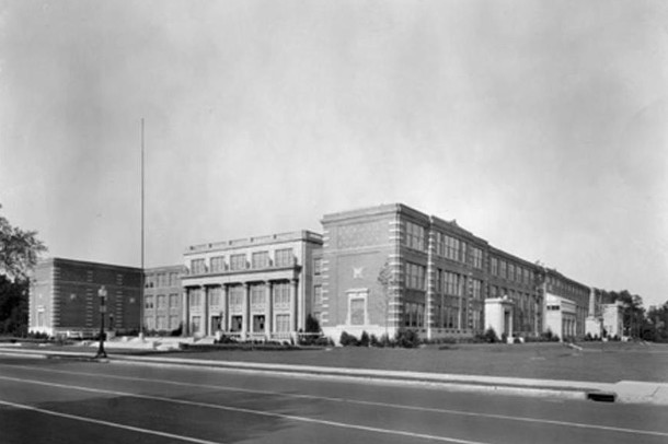 From 1928 to the early 1950s, the Music Memory Contest Finals were held in Caleb Mills Hall of Shortridge High School (W. H. Bass Company Collection, Indiana Historical Society)