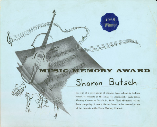 Example of the certificates issued to Music Memory Contest participants in the 1950s (scan from the collection of Sharon Butsch Freeland)