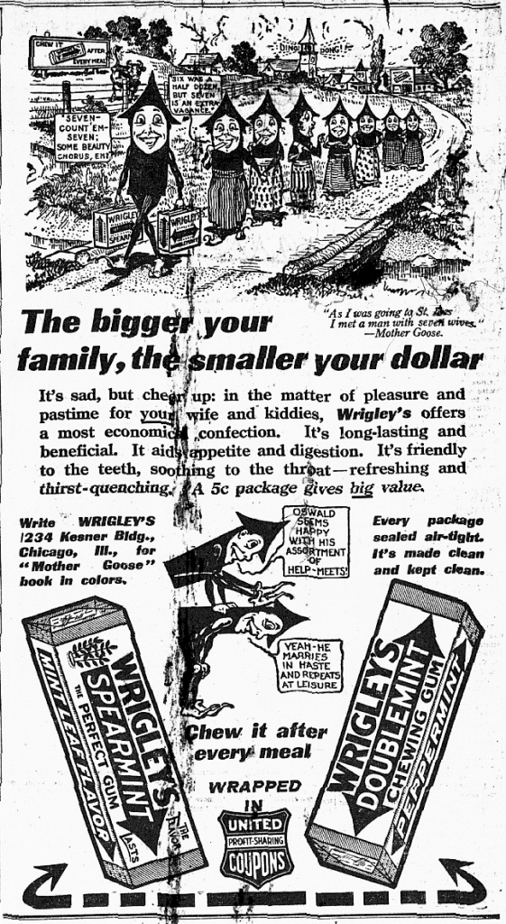1914 Wrigley's Spearmint gum ad in the Indianapois Daily Times (scan courtesy of the Indianapolis Public Library)