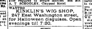 October 11, 1914 ad in the Indianapolis Star (scan courtesy of the Indianapolis Public Library)