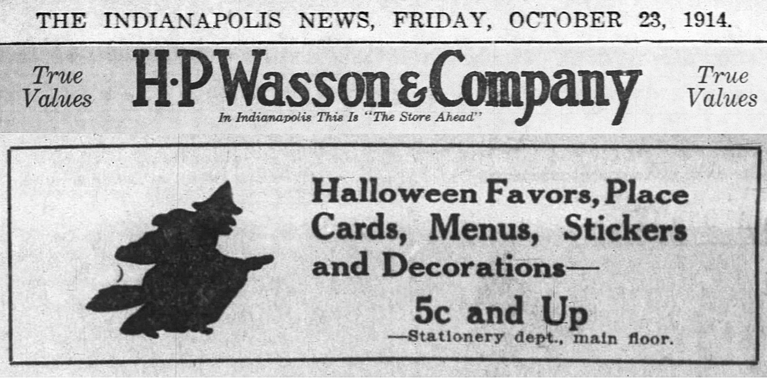 1914 H.P. Wasson & Company ad in The Indianapolis News (scan courtesy of the Indianapolis Public Library)