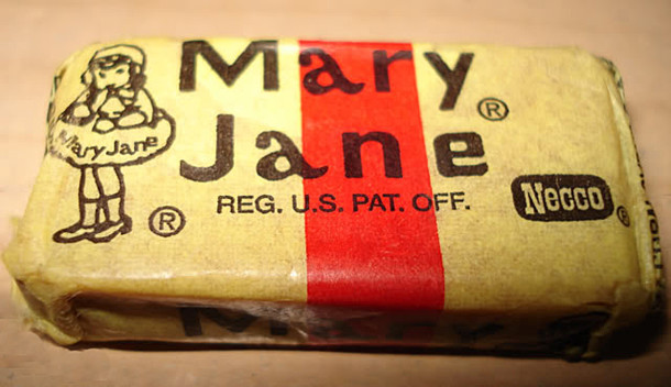 The peanut butter and molasses flavored candy called Mary Jane was introduced in 1914 (photo courtesy of melodramatic..com)