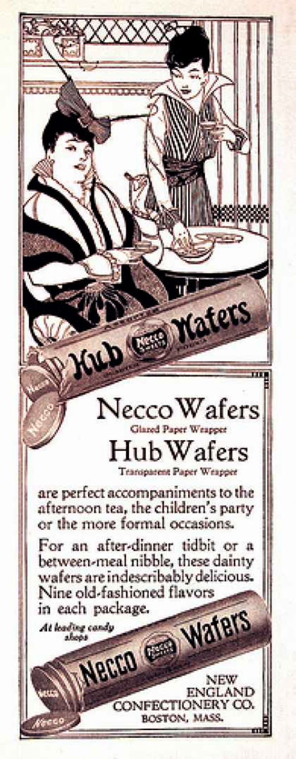 Necco Wafers and Hub Wafers were popular candies in 1914 (image courtesy of vintageadbrowser.com)