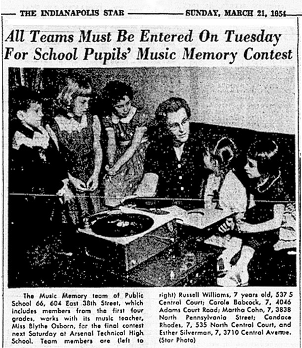 IPS School 66 students prepare for the 1954 Music Memory Contest  (Indianapolis Star scan courtesy of Indianapolis Public Library)