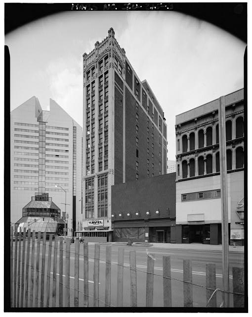 The Alhambra would have stood between the tall, slender Roosevelt Building and the four story Griffith Block. These buildings were raised in 1990 (Courtesy of The Library of Congress)