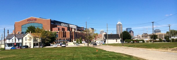 Babe Denny Park stands in the shadow of Lucas Oil Stadium