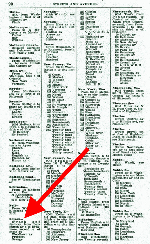 The first appearance of Nelson Street was in the 1897 Indianapolis City Directory (image courtesy of IUPUI Digital Archives)