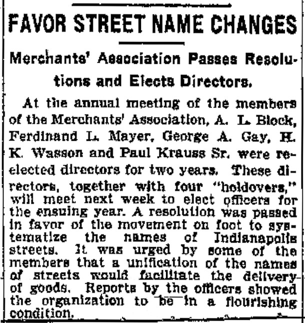 The Merchant Association supported the renaming of streets to aid in their deliveries (scan courtesy of newspapers.com)
