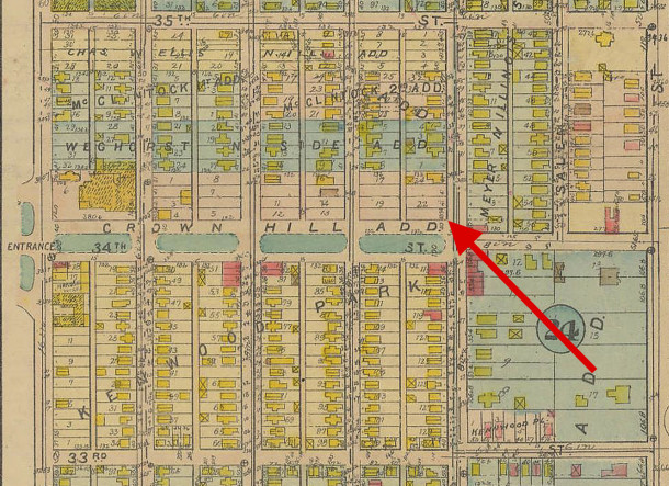 The 1916 Baist Atlas Plan 33 shows no improvements to the site (map courtesy of IUPUI Digital Archives)