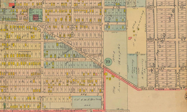1916 Baist Atlast shows Nelson Avenue running north and south in the location that is now Randolph Street (map courtesy of IUPUI Digital Archives)