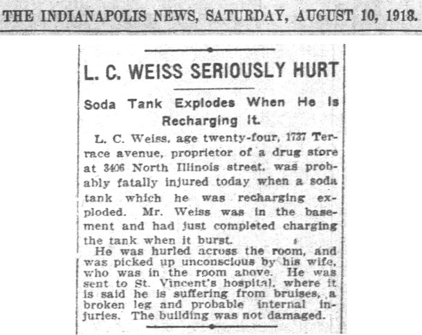 Drugstore operator Lloyd C. Weiss was injured while recharging a soda tank (scan courtesy of newspapers.com
