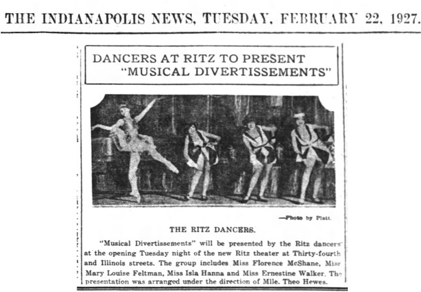 Among the various activities for opening night were The Ritz Dancers (Indianapolis News scan courtesy of newspapers.com)