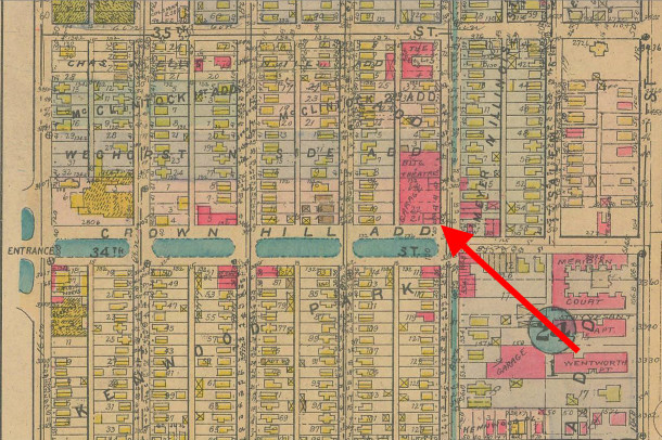 1927 Baist Atlas 33 shows the buildings on the northwest corner of 34th and Illinois Streets (map courtesy of IUPUI Digital Archives)
