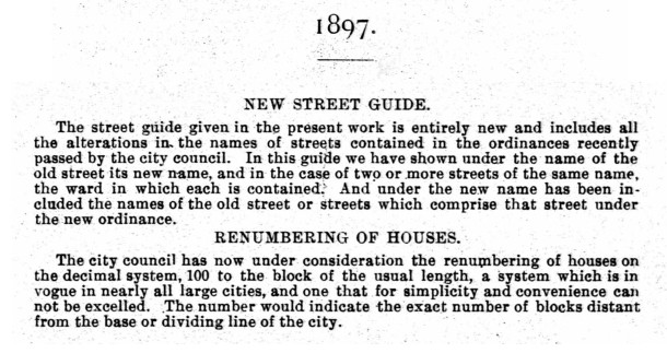 The 1897 Indianapolis City Directory listed the changes to street names and house numbers (courtesy of IUPUI Digital Images)