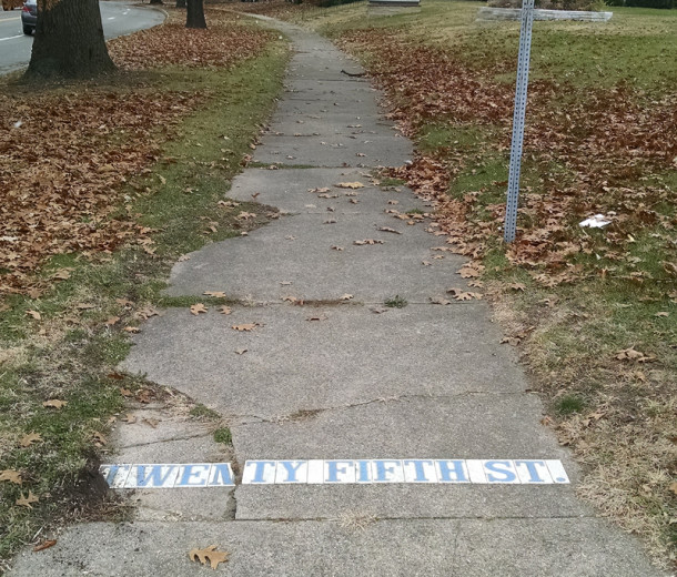 A street name marker still exists at 25th and West Fall Creek Parkway North Drive (photo by Sharon Butsch Freeland)