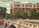 An early postcard showing the Marott Hotel and Meridian Street Bridge (courtesy ebay)